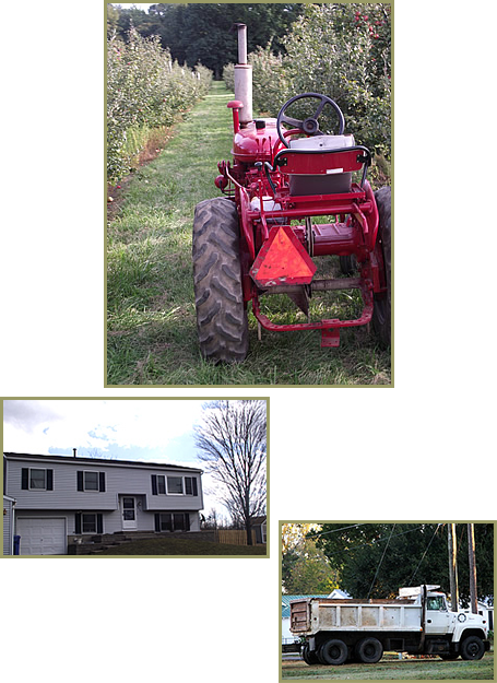 Tractor, House, and Truck